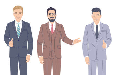 Confident men in formal suits isolated on white background. Business team, partnership. Friendly business men, office workers vector flat cartoon characters.