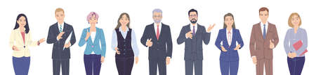 Friendly male and female characters set. Confident women and men in suits isolated on white. Business team, presentation, communication or inviting to event. Group of people vector flat illustration.