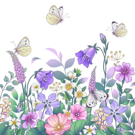 Hand drawn blooming pink and purple meadow flowers and butterflies on white background. Vector elegant floral arrangement with colorful different wildflowers in vintage style.