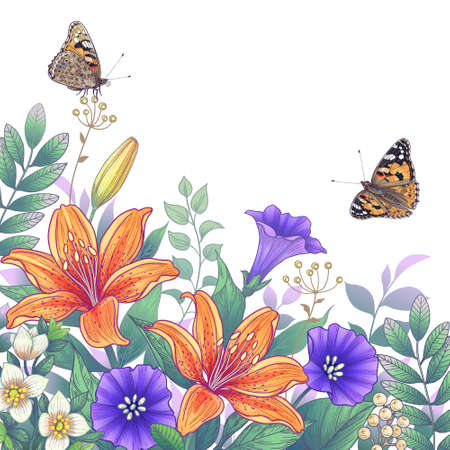 Hand drawn blooming orange and purple garden flowers and butterflies on white background. Vector elegant floral composition with orange lilies in vintage style.