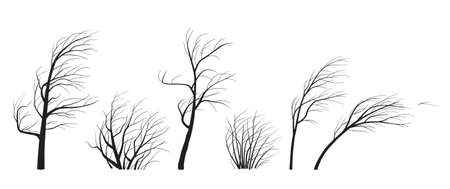Set of trees and bushes without leaves isolated on white background. Black silhouettes of young trees in wind. Landscape element design. Monochrome simple plants vector flat illustration.
