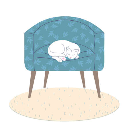 White cat sleeping in blue armchair. Cozy room interior elements - comfy arm-chair, fluffy rug on floor. Happy pet lying with closed eyes. Home comfort and tranquility. Vector flat illustration. Stock Illustratie