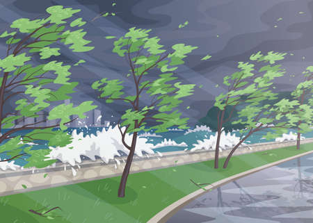 Seaside landscape with storm in ocean, huge waves and trees on high wind along coast. Natural disaster hurricane incoming on sea. Simple vector illustration in flat cartoon style. Stock Illustratie