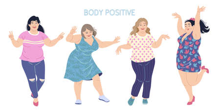 Happy dancing women. Plus size girls isolated on white background. Body positivity concept. Fun party, active healthy lifestyle, sisterhood. Simple vector illustration in flat cartoon style.