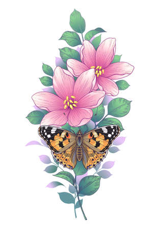 Hand drawn flowers and painted lady butterfly isolated on white background. Pink flower with green and orange moth top view. Vector elegant floral composition in vintage style, tattoo design.
