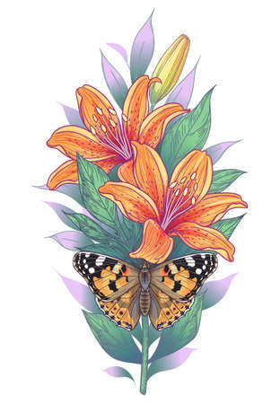 Hand drawn lilies and painted lady butterfly isolated on white background. Orange lily flowers with green leaves and moth top view. Vector elegant floral composition in vintage style, tattoo design.