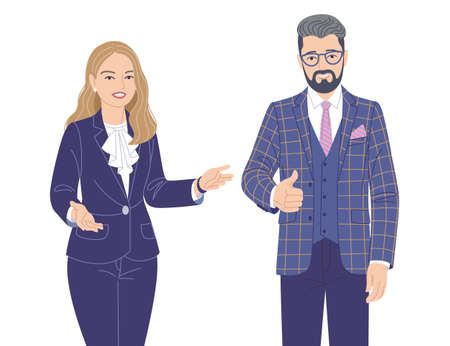 Friendly woman and man in elegant clothes isolated on white. Office worker, spokesperson, presentation, communication, inviting to event. Male and female characters vector flat illustration.