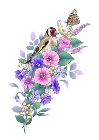 Hand drawn goldfinch and butterfly sitting on wildflowers bouquet isolated on white. Vector elegant floral composition with bird and pink and purple flowers in vintage style, t-shirt, tattoo design.