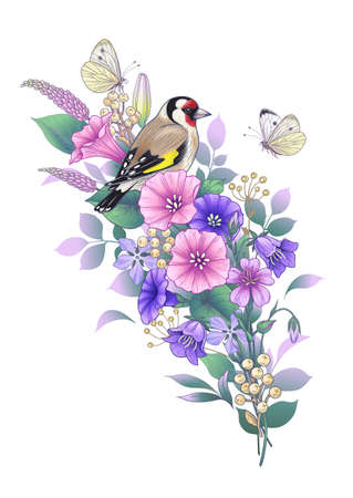 Hand drawn goldfinch sitting on wildflowers bouquet and butterflies isolated on white. Vector elegant floral composition with bird and pink and purple flowers in vintage style, t-shirt, tattoo design.