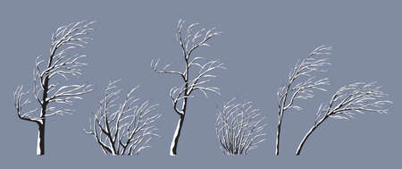 Set of snow covered trees and bushes without leaves isolated on gray. Winter season, windy weather, plants during a snowstorm. Monochrome simple tree and shrub under the snow vector flat illustration. Stock Illustratie