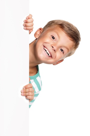 natural face: Little boy with white blank