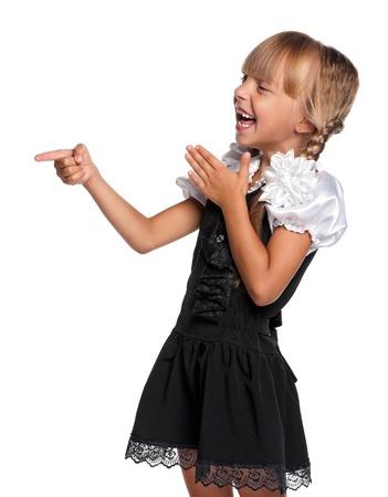 Little girl in school uniform photo