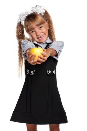 Little girl with apple photo