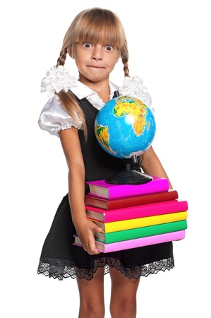 Little girl with books photo