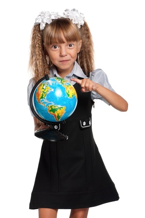 Little girl with globe photo