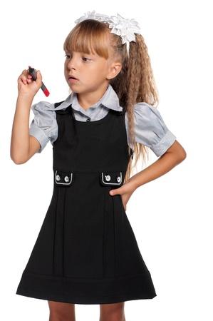 uniform school: Ni�a con marcador