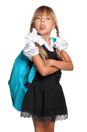 La bambina a scuola uniforme Archivio Fotografico