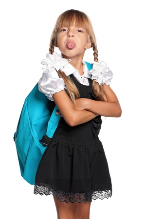 schoolgirls: Little girl in school uniform