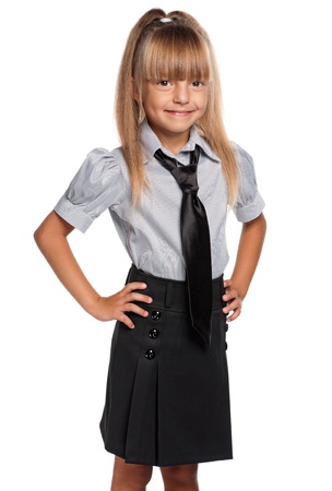 school uniforms: Little girl in school uniform