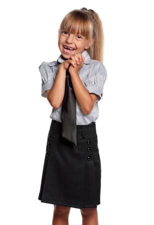 uniform skirt: Little girl in school uniform