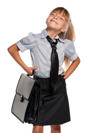 satisfied: Little girl with briefcase