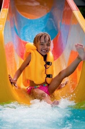 アクア公園で少女 写真素材