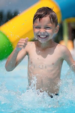 aquapark: Little boy at aqua park