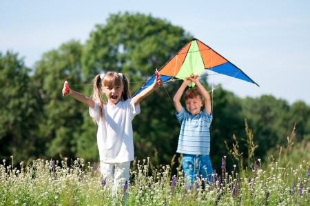 Children with kite photo