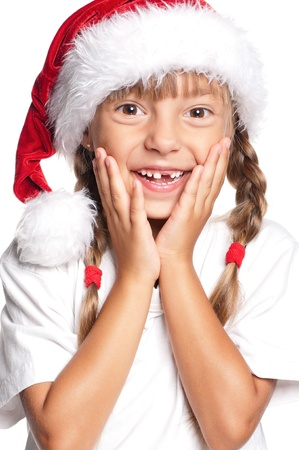 Little girl in Santa hat Stock Photo - 15332819