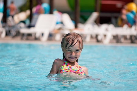 Little girl at aqua park photo