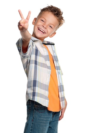 victory symbol: Portrait of boy Stock Photo