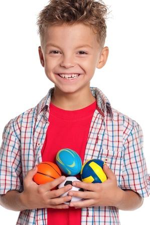 boy ball: Boy with small balls Stock Photo