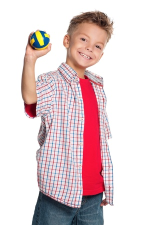 boy ball: Boy with volleyball ball Stock Photo