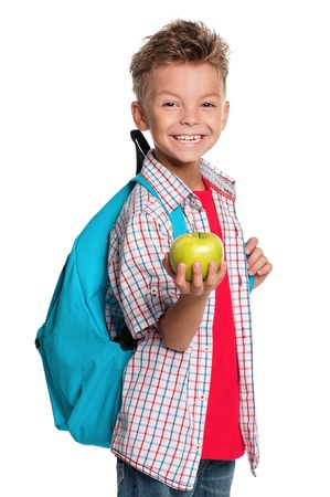 backpack school: Boy with backpack Stock Photo