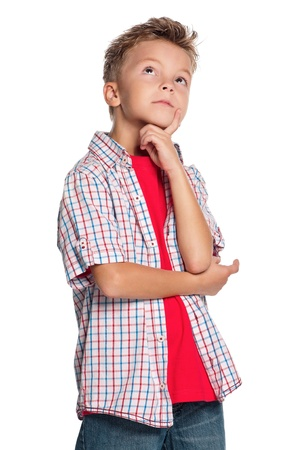 the thinker: Portrait of boy Stock Photo