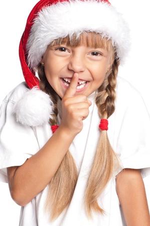 noiseless: Little girl in Santa hat Stock Photo