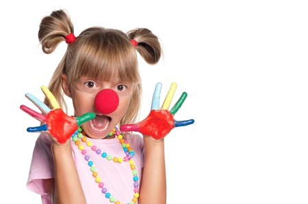 Little girl with clown nose Stock Photo - 15403441