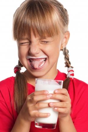 milk mustache: Little girl with glass of milk