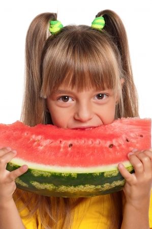Little girl with watermelon photo