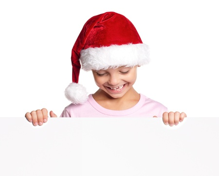 Little boy in Santa hat photo