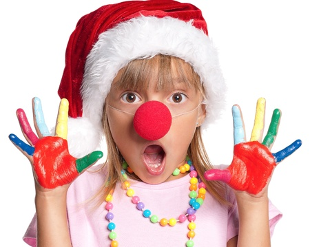 nose close up: Little girl in Santa hat Stock Photo