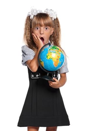 Little girl with globe photo