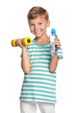 kids exercise: Little boy with dumbbells