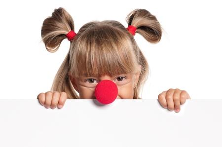 nez de clown: Petite fille avec nez de clown
