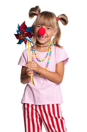 Little girl with clown nose photo