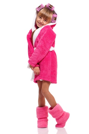 bath robe: Little girl in pink bathrobe