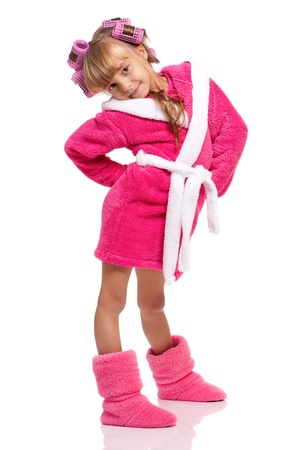 Little girl in pink bathrobe photo