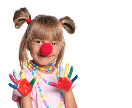 Little girl with clown nose Stock Photo - 15891485