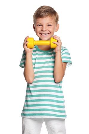 boy muscles: Little boy with dumbbells