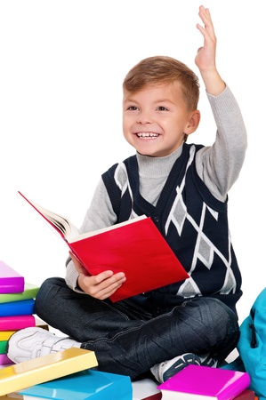 Boy with books photo